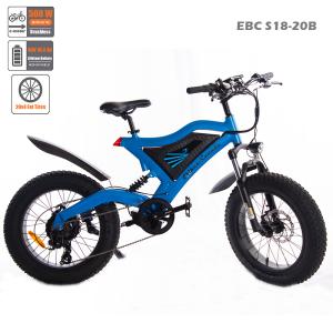 "EBC-S18-20B Blue 20"" Full-Suspension Fatbike 48V 500W 10.4 Ah"